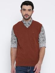 Indian Terrain Men Rust Orange Solid Sleeveless Sweater