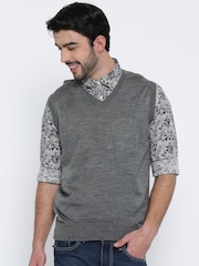 Indian Terrain Men Grey Melange Solid Sleeveless Sweater