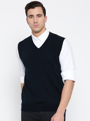 Indian Terrain Men Navy Solid Sleeveless Sweater