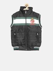 Okane Boys Black Sleeveless Bomber Jacket with Detachable Hood