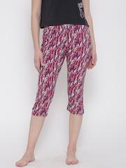 SDL by Sweet Dreams Pink & White Printed Lounge Capris F-LLC-601