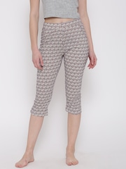 SDL by Sweet Dreams Off-White & Maroon Printed Lounge Capris F-LLC-601