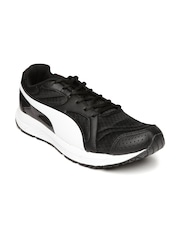 Puma Men Black & White Axis Evo Mesh DP Colourblocked Running Shoes