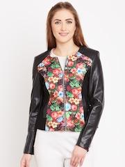 Fort Collins Black Floral Print Biker Jacket
