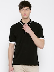 John Players Men Black Solid Slim Fit Polo Collar T-shirt