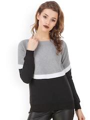 Texco Grey & Black Colourblocked Sweatshirt
