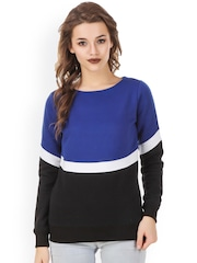 Texco Blue & Black Colourblocked Sweatshirt