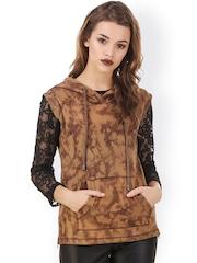 Texco Khaki Printed Sleeveless Hooded Sweatshirt