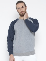 Fort Collins Grey Melange & Navy Colourblocked Sweatshirt