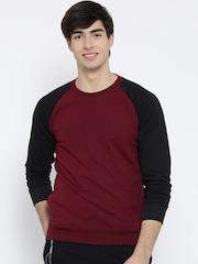 Fort Collins Maroon & Black Colourblocked Sweatshirt