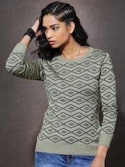 Roadster Beige & Green Patterned Sweater
