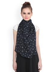 J Style Black Printed Stole