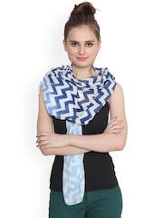 J Style Blue & White Printed Stole