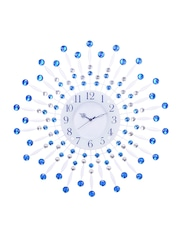 eCraftIndia White Dial Crystal-Studded Analogue Wall Clock