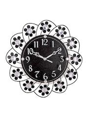 eCraftIndia Black Dial Crystal-Studded Analogue Wall Clock