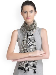 CoolThreads White & Black Printed Stole