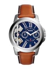Fossil Men Blue Multifunction Skeleton Dial Watch ME1161