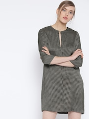 MANGO Women Black & Olive Green Printed Shift Dress