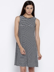 AND Women Black & White Striped A-Line Dress