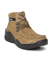 Lee Cooper Men Brown Solid Mid-Top Flat Boots