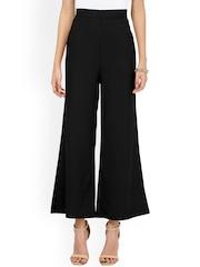 Besiva Women Black Solid Regular Fit Palazzo Trousers