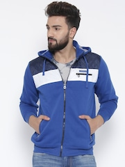 Cloak & Decker by Monte Carlo Blue Colourblocked Hooded Sweatshirt