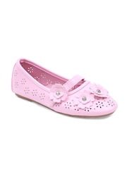 Lilliput Girls Pink Solid Round-Toed Embellished Ballerinas