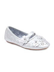 Lilliput Girls Silver-Toned Solid Round-Toed Ballerinas