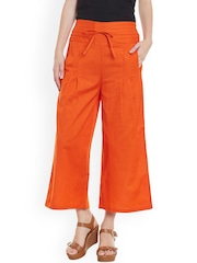 Bitterlime Women Orange Solid Relaxed Fit Palazzo Trousers