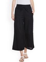 Bitterlime Women Black Solid Relaxed Fit Palazzo Trousers