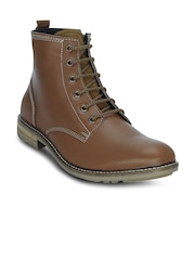 Get Glamr Men Tan Solid High-Tops Flat Boots