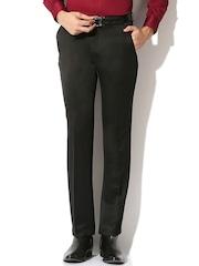 V Dot Men Black Solid Slim Fit Flat-Front Trousers
