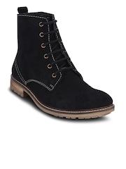 Get Glamr Men Black Solid High-Top Flat Boots