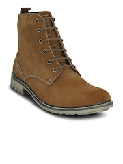 Get Glamr Men Tan Brown Solid High-Top Flat Boots