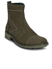 Get Glamr Men Olive Green Solid High-Top Flat Boots