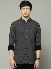 French Connection Men Black Printed Slim Fit Casual Shirt