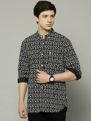 French Connection Men Black & White Printed Slim Fit Casual Shirt