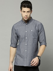 French Connection Men Blue Slim Fit Self-Design Casual Shirt