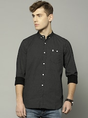 French Connection Men Black Slim Fit Printed Casual Shirt