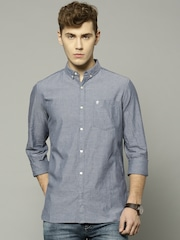 French Connection Men Blue Solid Slim Fit Casual Shirt