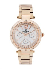 Daniel Klein Exclusive Women Silver-Toned Stone-Studded Multifunction Dial Watch DK11183-5