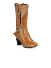 Nell Women Tan Brown Heeled Boots