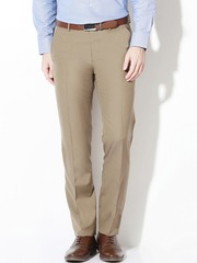 Van Heusen Men Beige Solid Flat-Front Formal Trousers