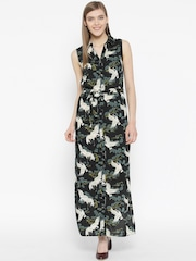 Vero Moda Women Black & Green Printed Maxi Shirt Dress