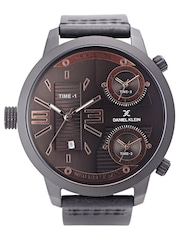 Daniel Klein Premium Men Gunmetal-Toned Triple-Dial Watch DK11130-3