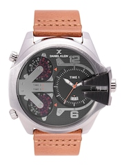 Daniel Klein Premium Men Gunmetal-Toned Textured Triple-Time Dial Watch DK11232-2