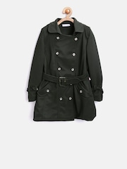 Peppermint Girls Olive Green Double-Breasted Pea Coat
