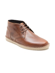 Red Tape Men Tan Brown Leather Mid-Top Flat Boots
