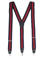 Alvaro Castagnino Navy & Red Striped Suspenders