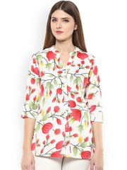 plusS Women White & Red Floral Print Shirt-Style Top